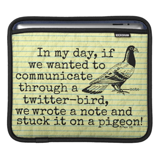 Funny Old Age Twitter Bird Pigeon iPad Sleeve