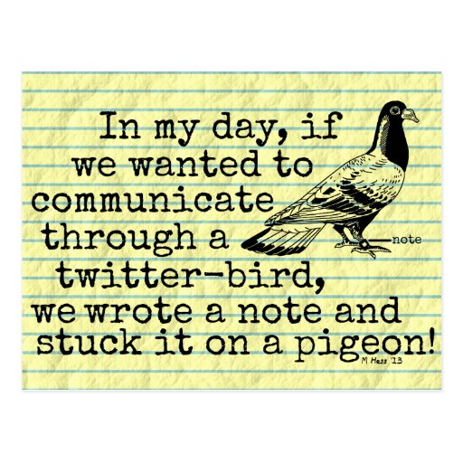 Funny Old Age Twitter Bird Pigeon Postcard