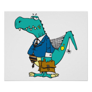 funny old dinosaur cartoon character poster