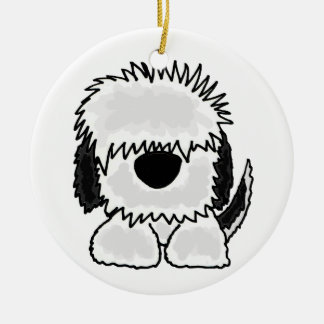 Funny Old English Sheepdog Cartoon Christmas Ornament