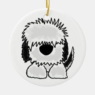 Funny Old English Sheepdog Cartoon Round Ceramic Decoration