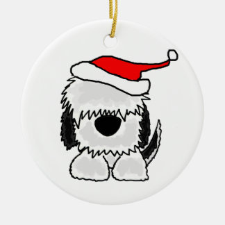 Funny Old English Sheepdog in Santa Hat Christmas Ornament