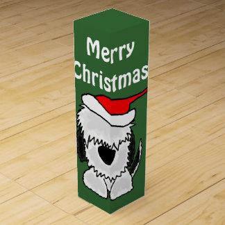 Funny Old English Sheepdog in Santa Hat Christmas Wine Gift Box