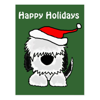 Funny Old English Sheepdog in Santa Hat Post Cards