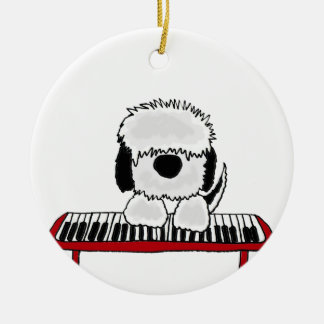 Funny Old English Sheepdog Playing Keyboard Round Ceramic Decoration