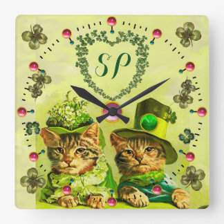 FUNNY OLD FASHION ST.PATRICK'S CATS,HEART MONOGRAM CLOCKS