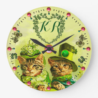 FUNNY OLD FASHION ST.PATRICK'S CATS,HEART MONOGRAM WALLCLOCKS