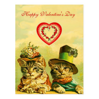 FUNNY OLD FASHION VALENTINE'S DAY CATS WITH HEART POSTCARD