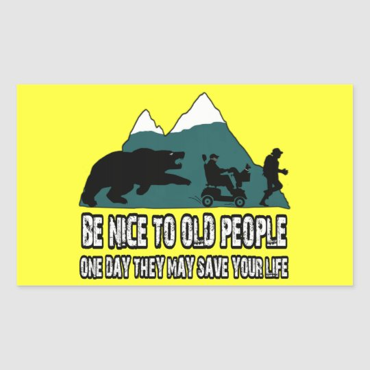Funny old people rectangular sticker