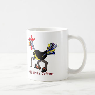 "Funny Old Rooster on Mug: ""Old Bird's Coffee"" Coffee Mug"