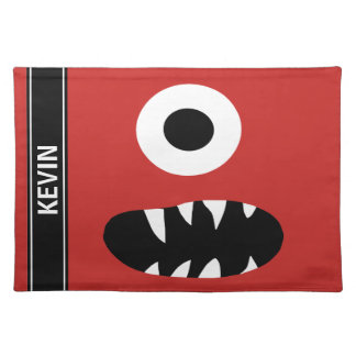 Funny One Eyed Monster Face Kids Personalized Red Placemat