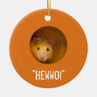 Funny Optical Illusion Rat in Hole Christmas Ornament