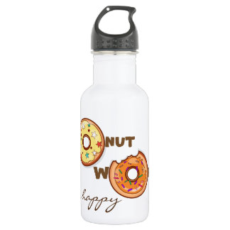"Funny & optimimistic ""donut worry, be happy"" 532 ml water bottle"