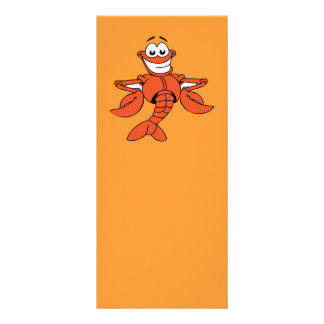 Funny ORANGE CARTOON LOBSTER smiling happy fun Full Colour Rack Card