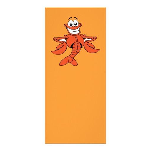 Funny ORANGE CARTOON LOBSTER smiling happy fun Rack Card Design