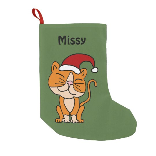 Funny Orange Cat Christmas Stocking