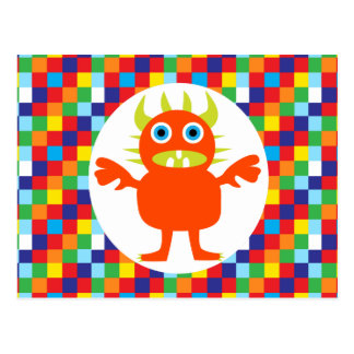 Funny Orange Monster Creature Bright Color Blocks Postcard