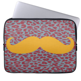 Funny Orange Mustache Laptop Sleeve