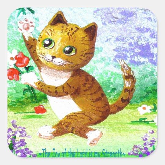 Funny Orange Tabby Cat Flowers Creationarts Square Sticker