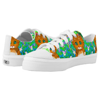 Funny Orange Tabby Cat Flowers Green Printed Shoes