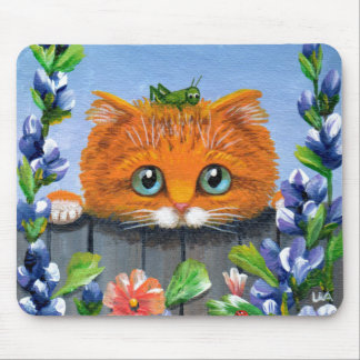 Funny Orange Tabby Cat Grasshopper Creationarts Mouse Mat