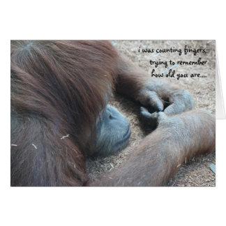 Funny Orangutan Birthday Card, Over the Hill Card