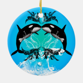 Funny orcas with water splash round ceramic decoration