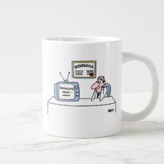 Funny Orthopedist Cartoon TV Breaking News Large Coffee Mug