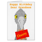 Funny Ostrich, any child, add name, Birthday Card