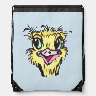 Funny Ostrich Cartoon Drawstring Backpack