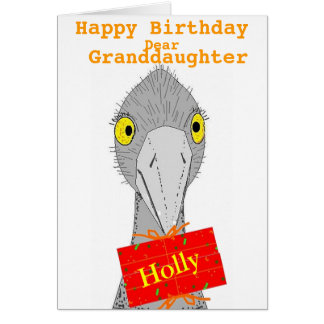 Funny Ostrich, Granddaughter, add name, Birthday Greeting Card