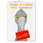 Funny Ostrich, Grandson, add name, Birthday Card