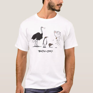 Funny Ostrich Penguin Kiwi Flying Chicken Show Off T-Shirt