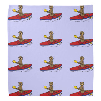 Funny Otter Kayaking Cartoon Kerchief