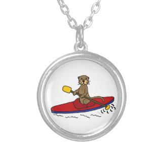 Funny Otter Kayaking Round Pendant Necklace
