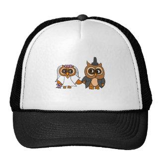Funny Owl Bride and Groom Wedding Cap
