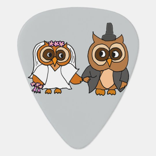 Funny Owl Bride and Groom Wedding Guitar Pick