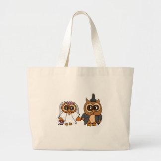 Funny Owl Bride and Groom Wedding Jumbo Tote Bag