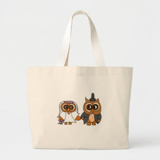 Funny Owl Bride and Groom Wedding Large Tote Bag
