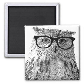 Funny owl magnet | Bird with glasses
