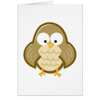 Funny Owl on White Card