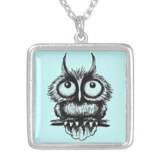 Funny owl pen ink drawing art square pendant necklace