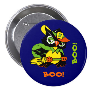 Funny Owl. Retro Style Halloween Gift Buttons