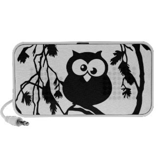 Funny owl sitting in the tree and has the moon speaker