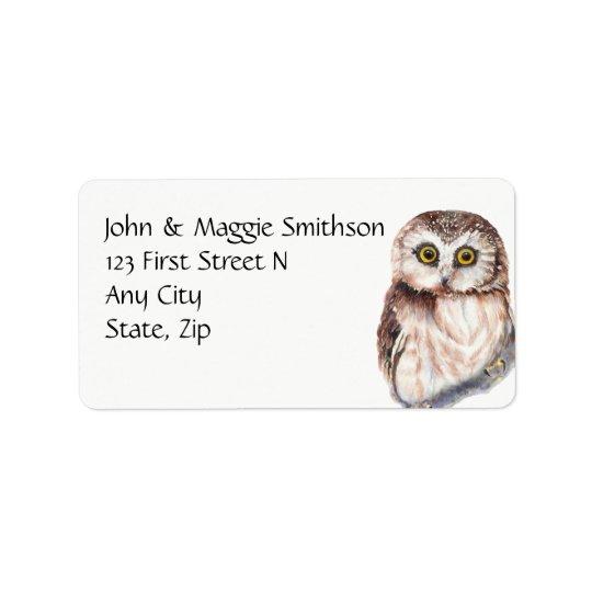 Funny Owl Watercolor Bird Custom Address Label