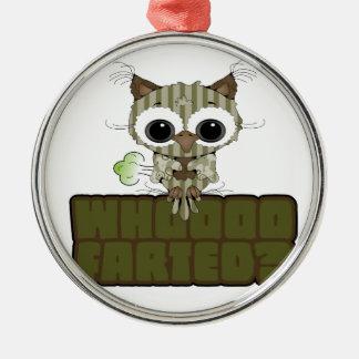 Funny Owl  Whooo Hoot Farted Christmas Tree Ornament