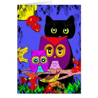 Funny Owls Black Cat Fall Moon Creationarts Card