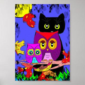 Funny Owls Black Cat Fall Moon Creationarts Poster