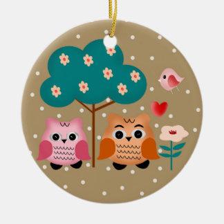 funny owls christmas ornament