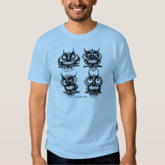 Funny owls in different moods pen ink drawing art tee shirts